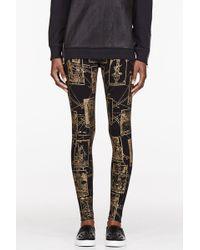 KTZ - Black And Gold Tarot Print Leggings - Lyst