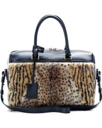 Saint Laurent Duffle 6 Leopard-Print Fur And Leather Bowling Bag - Lyst