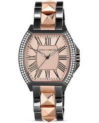 Vince Camuto - Two Tone Glitz Pyramid Bracelet Watch 35mm - Lyst