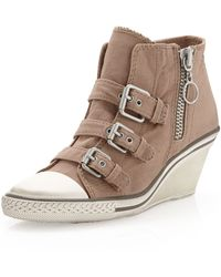 Ash Canvas Buckled Wedge Sneaker Stone 11 - Lyst