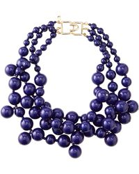 Kenneth Jay Lane - Beaded Cluster Necklace Blue - Lyst