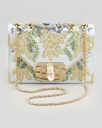 Marchesa Valentina Floral Embroidered Envelope Clutch Bag Bluemulti - Lyst