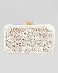 Marchesa Isabella Lasercut Calf Hair Clutch Bag Pearl - Lyst