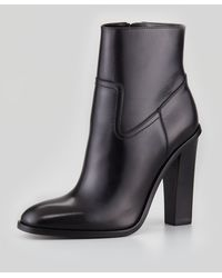 Saint Laurent Sidezip Leather Bootie Black - Lyst