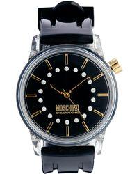 Boutique Moschino - Black Ladies Watch with Stone Gem Details - Lyst