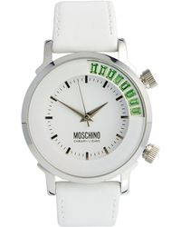 Boutique Moschino - White Ladies Watch with Green Baguette Stones and White Leather Strap - Lyst