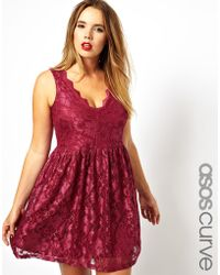 Asos Curve Skater Dress In Lace With Scallop Edge - Lyst