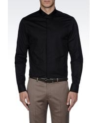 Armani Satin Shirt with Mandarin Collar - Lyst