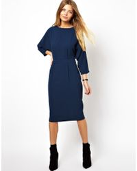 Asos Pencil Dress In Crepe With Batwing Sleeve blue - Lyst