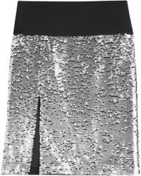 DKNY Sequined Silkchiffon Skirt - Lyst