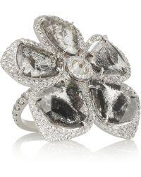 Nina Runsdorf - 18karat White Gold Diamond Flower Ring - Lyst