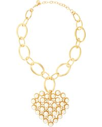 R.j. Graziano - Golden Pearly Heart Pendant Necklace - Lyst