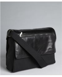 Kenneth Cole Black Nylon And Leather Front Flap Messenger Bag - Lyst