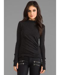 Enza Costa Cashmere Ruched Pullover Sweater in Charcoal - Lyst