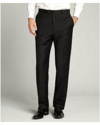 Joseph Abboud Black Wool Flat Front Trousers black - Lyst