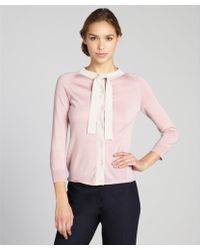 Prada Blush and Cream Wool and Silk Blended Tie Neck Cardigan - Lyst