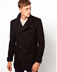 Asos Wool Jacket With Funnel Neck In Black - Lyst
