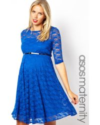 Asos Maternity Lace Skater Dress With Belt And 1/2 Sleeve - Lyst