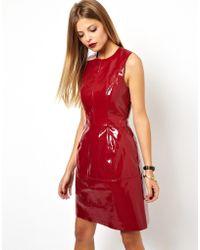 Asos Pu Seam Ovoid Dress - Lyst