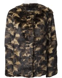 Erro Camouflage Rabbit Fur Jacket - Lyst