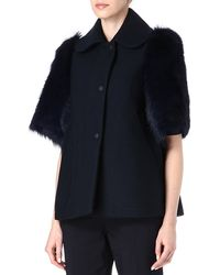 Mulberry Blue Shearlingsleeve Coat - Lyst