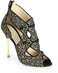 Nicholas Kirkwood Embroidered Suede Evening Sandals - Lyst