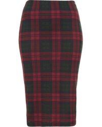 Topshop Multi Check Tube Skirt - Lyst