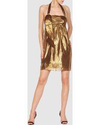 Vera Wang Lavender Short Dress gold - Lyst