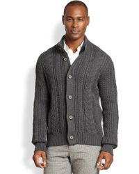 Vince Cable-Knit Wool Cardigan - Lyst