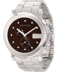 Gucci Gchrono Collection Stainless Steel Watch Grey - Lyst