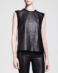 Helmut Lang Snakeprint Leather Combo Tank - Lyst
