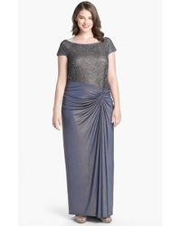 Tadashi Shoji Metallic Lace Jersey Gown - Lyst