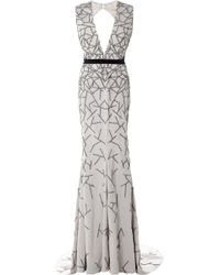 Bibhu Mohapatra Stretch Faille Embroidered Vneck Gown gray - Lyst