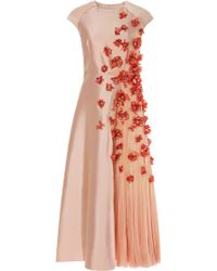 Bibhu Mohapatra 3d Flower Embellished Twill Dress with Chiffon Inset pink - Lyst