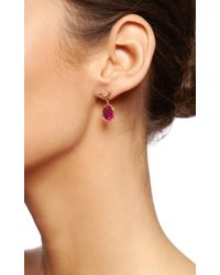 Dean Harris - Handmade Red Tourmaline Oval Drop Earring with 18k Yellow Vine and White Diamond Vine Ear Wires - Lyst