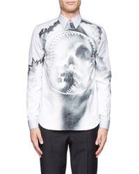 Givenchy Skull Baseball Photocopy Print Cotton Shirt gray - Lyst