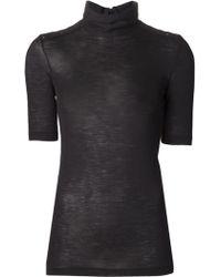 Brunello Cucinelli Jeweled Shoulder T-shirt - Lyst