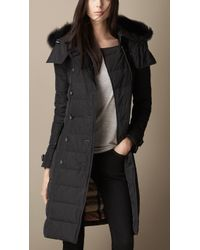 Burberry Down-Filled Coat With Fur Trim - Lyst