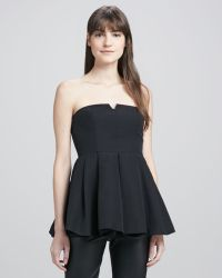 Elizabeth And James Jill Strapless Peplum Top Black - Lyst