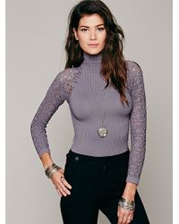 Free People Rib And Lace Turtleneck - Lyst