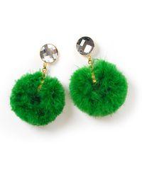 House of Holland - Ss11 Green Marabou Hoop Earring - Lyst