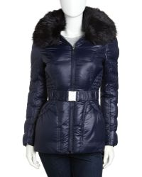 Laundry by Shelli Segal - Faux Fur-trimmed Belted Coat - Lyst