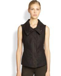 Donna Karan New York Leather Panel Vest - Lyst