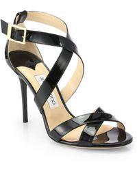 Jimmy Choo Lottie Patent Leather Crisscross Sandals - Lyst