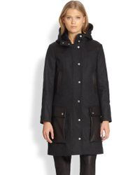 Rag & Bone Beacon Hooded Wool Leather Coat - Lyst
