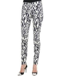 7 For All Mankind Ikat-Print Skinny Pants - Lyst