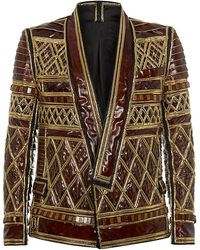 Balmain Leather and Gold Trophy Jacket - Lyst