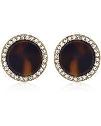 Michael Kors Tortoise Pave Stud Earrings - Lyst