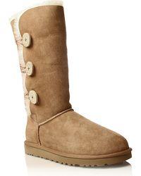 Ugg Bailey Button Triplet Sheepskin Boots Brown - Lyst
