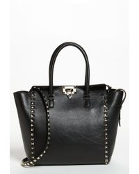 Valentino 'Rockstud' Double Handle Leather Tote - Lyst